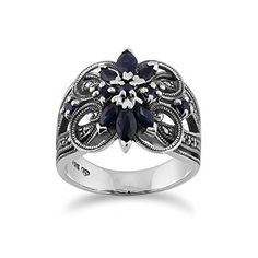 Gemondo Sterling Silver 0.90ct Blue Sapphire and 0.25ct Marcasite Floral Cocktail Ring >>> Check out this great product. (This is an affiliate link) #Rings