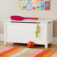 Kids Toy Chests: Kids Solid White Toy Box in Toy Boxes