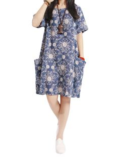 Sale 18% (9.99$) - Loose Women Pocket Short Sleeve Floral Cotton Linen Mini Dress