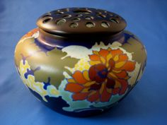 GOUDA Pottery Vase with Flower Frog Cover - Made for Ryrie-Birks Ltd