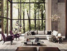 decoração e janelas Gorgeous Home in the Woods Room Interior Design, Best Interior, Interior And Exterior, Modern Interior, Exterior Design, Luxury Home Decor, Luxury Homes, Home Living Room, Living Room Designs