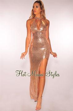bb010f736bca Anjou Rose Gold Sequin Fringe Midi Dress in 2019 | My Style ...