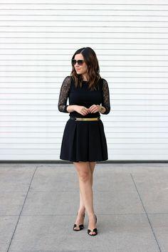 Lace Sleeve Top, Skater Skirt, Club Monaco Gold Metallic Belt, Jimmy Choo Sandals