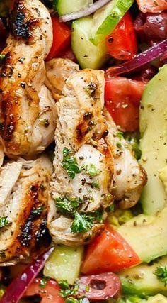 Lemon Herb Mediterranean Chicken Salad by cafedelites #Salad #Chicken