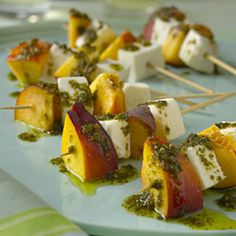 Set these refreshing Mozzarella and nectarine skewers with pesto out before your Easter brunch. | http://www.health.com/health/gallery/0,,20307211,00.html
