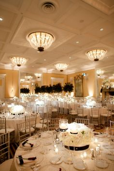 Black and white wedding reception... Wedding ideas for brides, grooms, parents  planners ... https://itunes.apple.com/us/app/the-gold-wedding-planner/id498112599?ls=1=8 … plus how to organise an entire wedding ♥ The Gold Wedding Planner iPhone App ♥