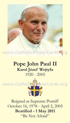"""April 2nd...8th anniversary of Blessed Pope John Paul the Great going home to """"the Father's house""""...continue to pray for his Canonization..."""