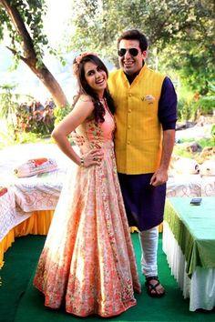 Mehendi Outfits - Beautiful Peach Lehenga with floral print skirt | WedMeGood #wedmegood #lehenga #mehendi