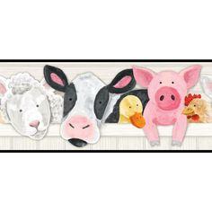 "Brothers and Sisters V Barnyard Friends 15' x 9"" Animals Border Wallpaper"