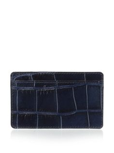 80% OFF Leone Braconi Men's Stampato Credit Card Holder (Navy)