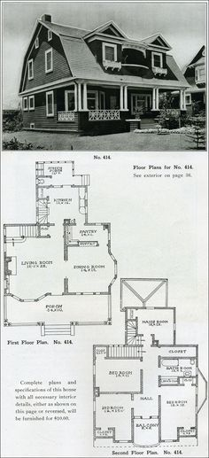 "1910 Dutch Colonial Revival - The Bungalow House - Henry Wilson - gambrel roof. and that ""Maid's Room"". The Plan, How To Plan, House With Porch, House Roof, Gambrel Roof, Vintage House Plans, Dutch Colonial, Traditional House Plans, Arquitetura"