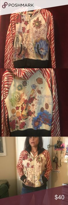 Lucky Brand graphic print zip up hoodie Red and white zebra print sleeves with floral funky design on front and back- Lucky Brand Jackets & Coats