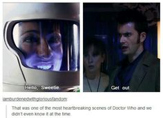 This was so sad! Especially since I watched the Matt Smith episodes before David Tennant, so I knew all about this. It was sooooo devastating to watch the Doctor have no clue who she is. Fandoms Unite, Space Man, Never Be Alone, And So It Begins, Hello Sweetie, Tenth Doctor, Diy Doctor, Don't Blink, Torchwood