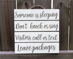 Someone Is Sleeping - Be Quiet Sign - Don't Wake Baby - Quiet Please - Night Shift Worker - Door Sign - Daytime Sleeper - Baby Shower Gift Baby Sleeping Sign, Therapy Office Decor, Night Shift Nurse, Front Door Signs, Ring Doorbell, Diy Pallet Projects, Kids Decor, Wooden Signs, Baby Shower Gifts
