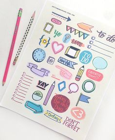 Printable Planner Doodles - Organization, Journaling, Filofax, Planner, Notebook