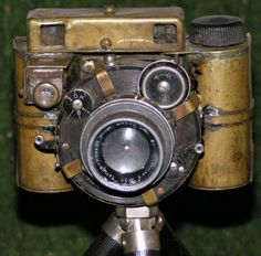 A functional steampunk camera. It looks old and takes pictures.