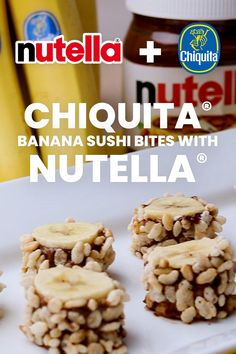 """Your newest """"roll"""" model is Nutella® paired with Chiquita® bananas! Lunch Snacks, Easy Snacks, Yummy Snacks, Delicious Desserts, Healthy Snacks, Snack Recipes, Dessert Recipes, Cooking Recipes, Yummy Food"""
