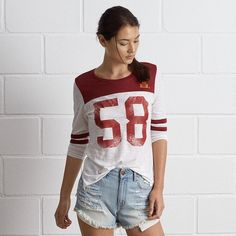 Tailgate ISU 3/4 Sleeve Jersey (€44) ❤ liked on Polyvore featuring tops, red, crew neck top, football jerseys, 3/4 length sleeve tops, red top and three quarter sleeve tops
