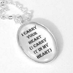 Heart Poem Silver Pendant Necklace by thelittlechickadee on Etsy, $35.00