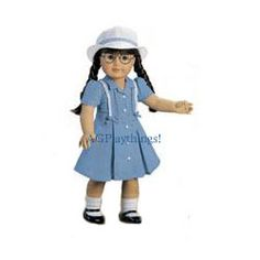 Route 66 Outfit Molly stays cool and comfortable in this pretty blue linen dress with eyelet trim. Her white crew hat keeps the sun out of her eyes! $22 MTO  Released 2002 Discontinued Spring 2006 Z