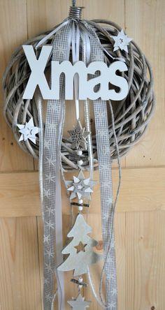 Türkranz 30 cm Weihnachtskranz, X_MAS, Sterne, Weiß/grau