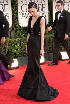 Rooney Mara  Rooney Mara wore Nina Ricci at the Golden Globe Awards in Los Angeles.