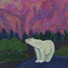 """Northern Lights"" - Harris Tweed needle felted paintings, giclee prints & greetings cards by Jane Jackson. www.brightseedtextiles.com"