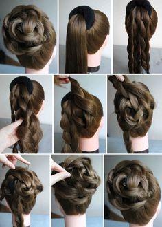 Braided bun model – haarschnitte – Braided bun model, – – Tutorial Per Capelli Donut Bun Hairstyles, Trendy Hairstyles, Girl Hairstyles, Braided Hairstyles, Wedding Hairstyles, Hair Bun Donut, Doughnut Bun, Braided Updo, Straight Hairstyles