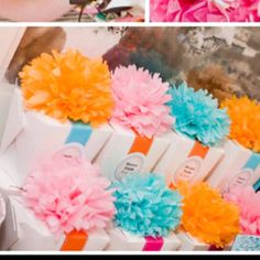 Girls First Birthday Party - could do ombre flowers on top as favors