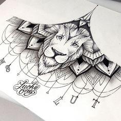 Dotwork lion on lace mandala background tattoo design