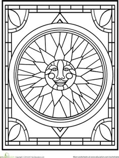 This pretty sun design looks like it comes straight from a stained glass window. Can your child brighten it up by adding in some color?