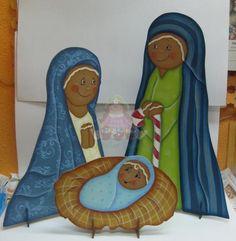 Presépio em Madeira de 3 figuras - Ginger * Pintado á mão por Bé Baptista * Med aprox (S. José) - 50x30