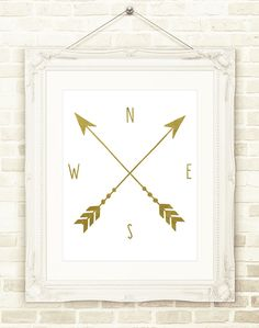 Arrow Wall Decor, Compass Print, Adventure Wall Art, Gold Arrow Wall Sign, Printable Wall Art NSTANT DOWNLOAD, Travel Decor, Modern Art by CopperAndToad on Etsy