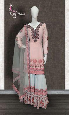 Buy Pink Georgette Sharara Suit (SKU Code : online on best price at KhojKala Design. Dress Indian Style, Indian Dresses, Indian Outfits, Ethnic Outfits, Pakistani Dresses Party, Pakistani Dress Design, Pakistani Outfits, Designer Party Wear Dresses, Indian Designer Outfits