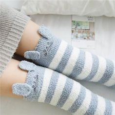 These Kawaii Japanese Thigh High Fuzzy Socks are just to die for! Perfect for a cozy night in or adding adorableness to any Kawaii outfit! Credit his baby girl and princess Japanese Animals, Knee High Socks, High Boots, Thigh High Socks Outfit, Warm Socks, Kawaii Clothes, Mori Girl, Thigh Highs, Baby Boys