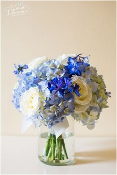 Beautiful Blue Bouquet - white roses, blue hydrangeas @bloomingmore