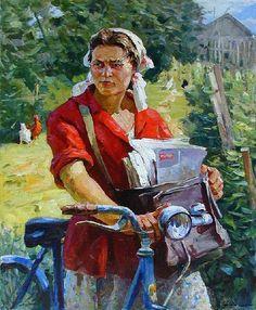 Rural Postman #bicycle #painting #bicyclepainting