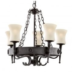 Cartwheel 5 Light Fitting In Black/brown Wrought Iron & Scavo Glass Shades