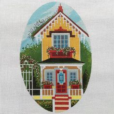 Handpainted Needlepoint canvas Victorian Cottage by Peter Ashe
