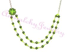Green Beaded Necklace with Crystals and Pearls by AmhalchyJewelry, $19.95