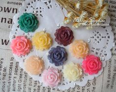 12pcs 21mm Resin Flower cabochons for Beads Necklaces by baosy, $2.99