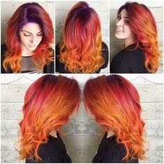 sunset hair color   Group of: 'Vivid Sunset Hair' ~ Achieved by the Colors: Yellow, Orange ...