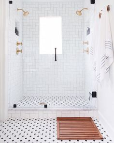 Home Interior Classic White Bathroom renovation with black and white tile, gold bathroom fixtures, and beautiful classic accessories for a gorgeous master bath. Bathroom Inspiration, Bathroom Interior, Bathrooms Remodel, Bath Remodel, Gold Bathroom Fixtures, Amazing Bathrooms, Bathroom Decor, Trendy Bathroom, Bathroom Design
