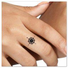 Temporary Tattoo Compass Finger Waterproof Fake Tattoos Thin Durable