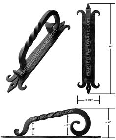 This flat black finish rustic wrought iron door pull provides a great finishing touch to any solid wood passage door, wood gate or even larger cabinets. A distinctive spanish coat of arms design with a curved handle offers decor appeal & functional style.