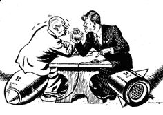 On 29 October 1962, this cartoon was published in the 'Daily Mail'. The caption read: 'OK Mr President, let's talk'. The message of the cartoon was clear - the world had avoided a nuclear war, but it was time for reason.