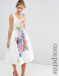 ASOS Petite ASOS PETITE SALON Beautiful Floral Placed Midi Prom Dress  Petite Midi Dress ad4281d59