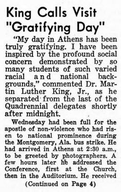 """King Calls Visit Gratifying Day"" appeared in the January 1, 1960 edition of the Frontier Post, the newspaper of the 18th Ecumenical Student Conference on the Christian World Mission. The article discusses Martin Luther King Jr's stay at Ohio University in Athens, Ohio, and his thoughts on the conference."
