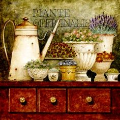 bodegón con tetera y flores, mueble café fuerte