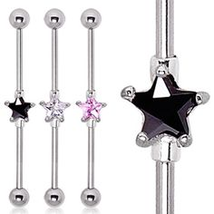316L Surgical Steel Prong Set Star CZ Industrial Barbell